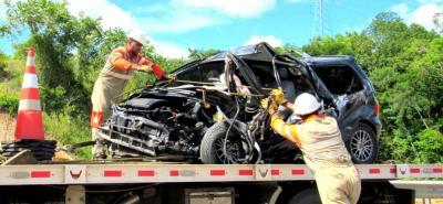 Este es el estado en el cual quedó el vehículo conducido por la víctima del choque.
