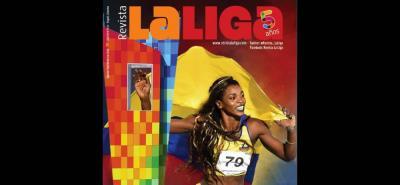 La portada de La Liga, revista deportiva del santandereano 'Tito' Puccetti, que cumple cinco años de circulación.