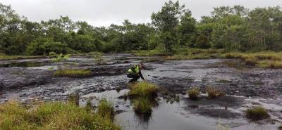 La Policía ambiental hizo presencia ayer en el predio de Dos Bocas para constatar la contaminación latente.
