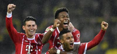 Con asistencia de James, el Bayern Múnich le ganó 3-1 al Dortmund.