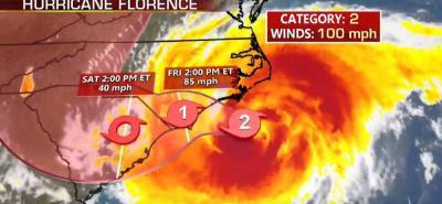 Se espera que Florence produzca acumulaciones totales de lluvia de entre 50 y 76 centímetros.