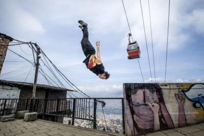 Las mejores imágenes de la exhibición de parkour en Colombia