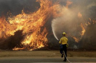 Imágenes del voraz incendio que tiene en emergencia a Los Ángeles