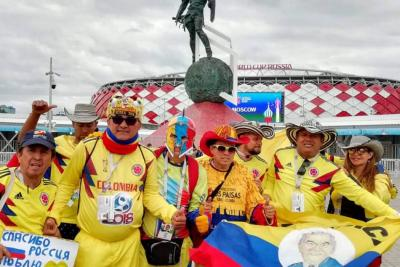 Hinchas de Colombia vivieron con alegria el partido contra Inglaterra