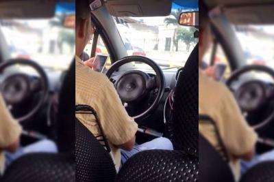 Denuncian a taxista de Bucaramanga que chateaba mientras conducía
