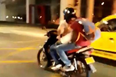 Transportaba parrillero sin casco en importante vía de Bucaramanga