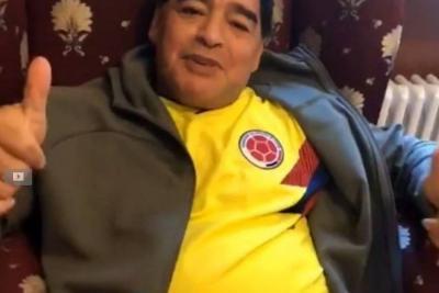 Con un video Diego Maradona apoyó a la Selección Colombia