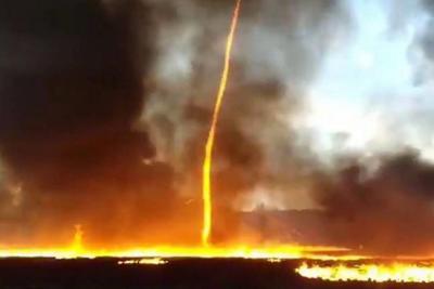 Incendio en fábrica del Reino Unido provoca aterrador tornado de fuego