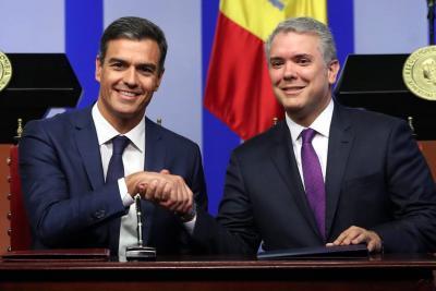 """""""El Gobierno de España expresa su solidaridad con el pueblo colombiano"""", presidente Pedro Sánchez."""