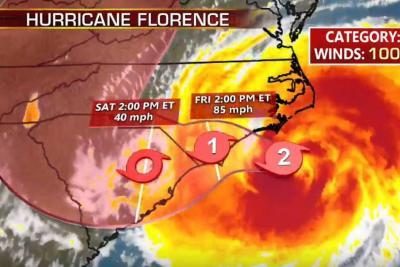Florence acaba de tocar tierra en Estados Unidos: Siga en directo la trayectoria del huracán